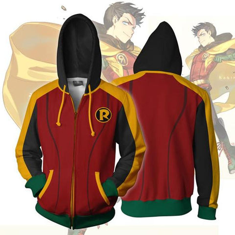 Batman Hoodies - Robin Damian Wayne Zip Up Hoodie