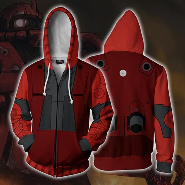 Mobile Suit Gundam Hoodies - MS-06S ZAKU II Zip Up Hoodie