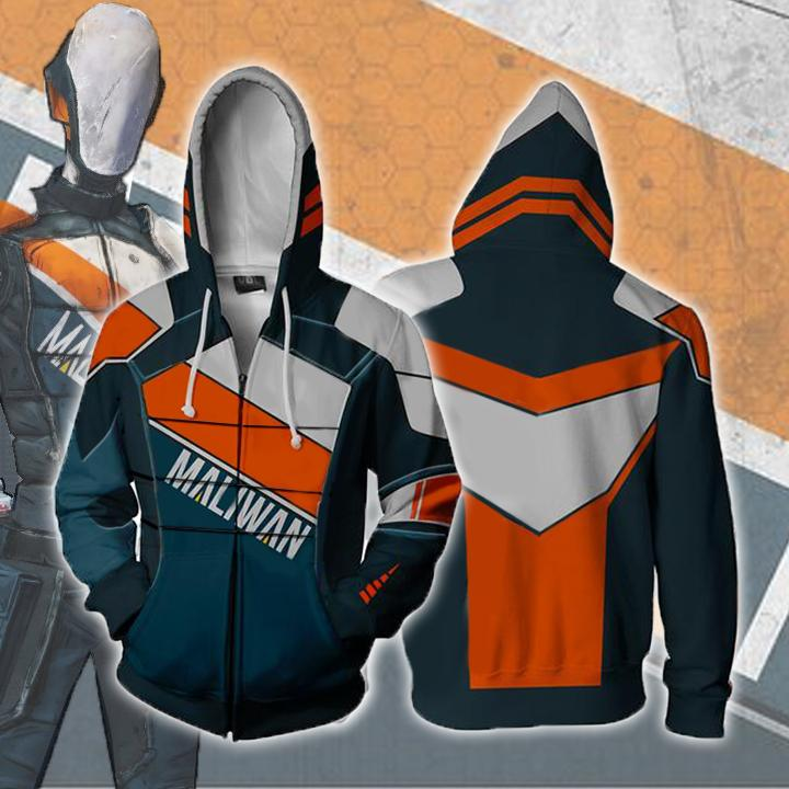 Borderlands Hoodies - Borderlands Maliwan 1 Zip Up Hoodie