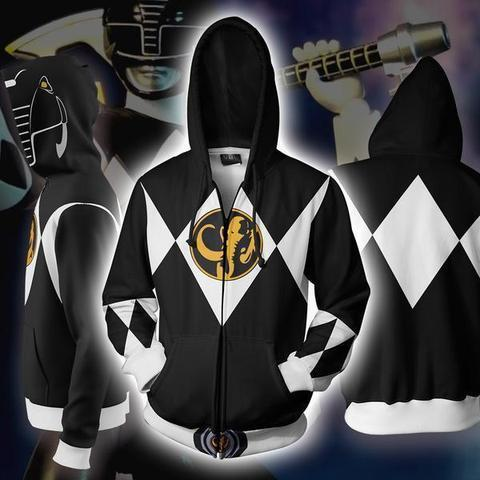 Power Rangers Hoodies - Power Rangers Black Cosplay Zip Up Hoodie
