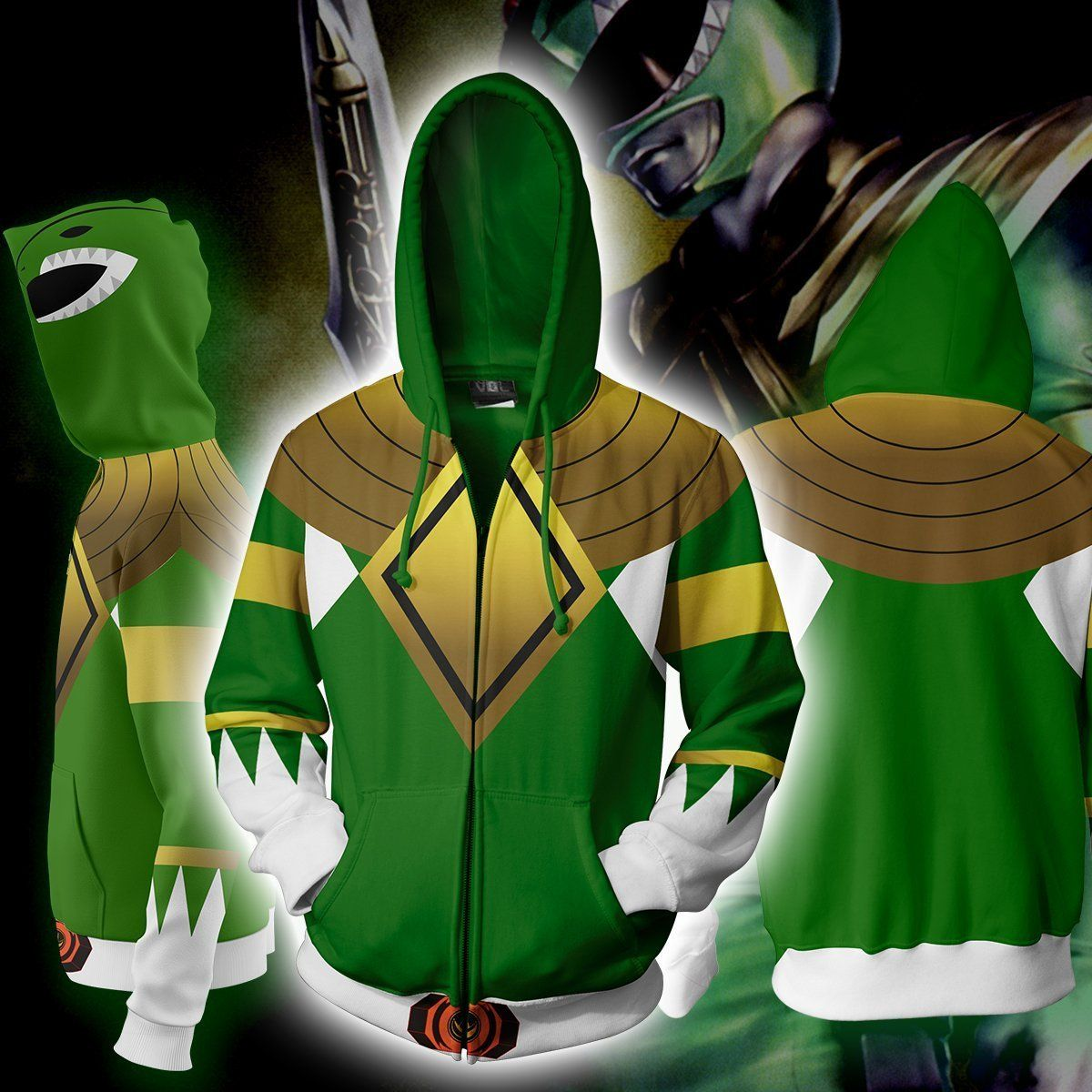 Power Rangers Hoodies - Power Rangers Green Cosplay Zip Up Hoodie