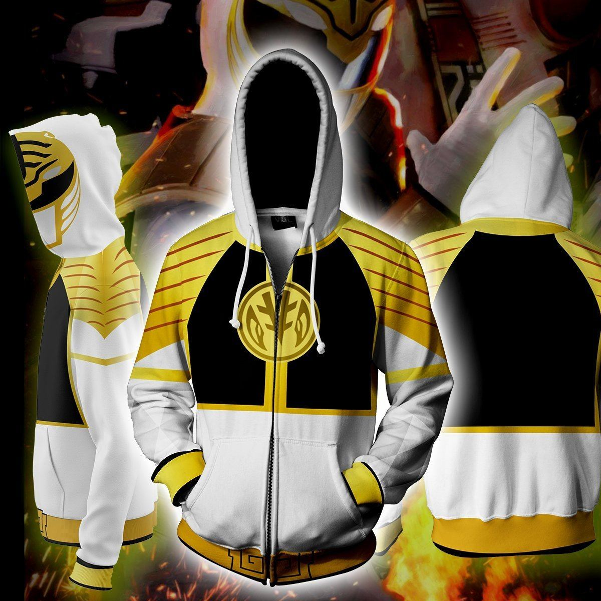 Power Rangers Hoodies - Power Rangers White Cosplay Zip Up Hoodie