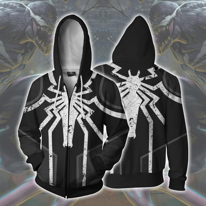 Venom Hoodies - Agent Venom Cosplay Zip Up Hoodie