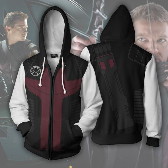 Hawkeye Hoodies - Hawkeye Cosplay Zip Up Hoodie
