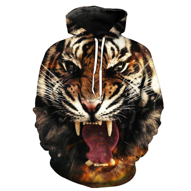 Animal Hoodies - 3D Unisex Pull Over Hoodie - Angry Tiger