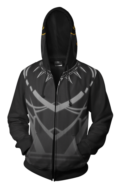 Black Panther Costume Hoodie - Comic Black Panther Zip Up Jacket Gray