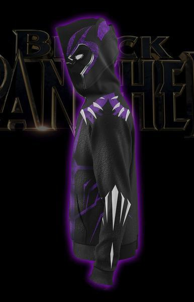 Black Panther Costume Hoodie - Comic Black Panther Zip Up Jacket Purple