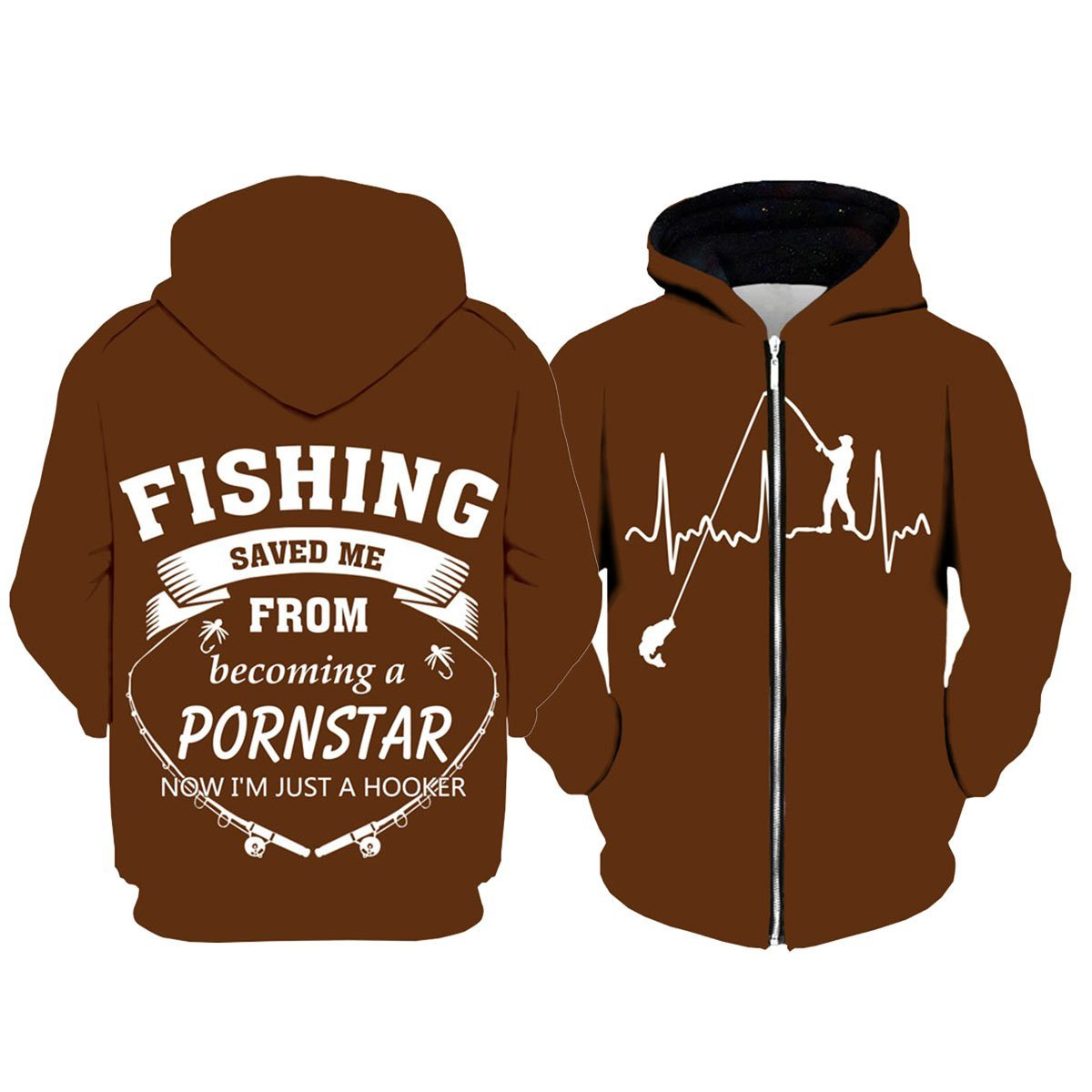 Fishing Hoodies - 3D Print Unisex Pull Over Hoodies - Fishing Saved Me From Becoming