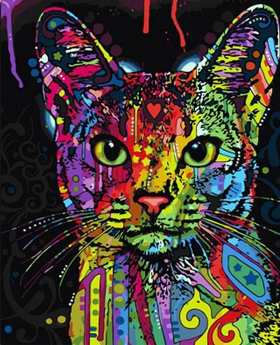 DIY Painting By Number Kit - Van-Go Kit - Abstract Colorful Cat