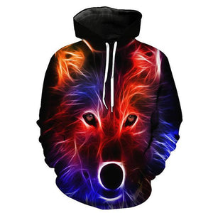Animal Hoodies - 3D Unisex Pull Over Hoodie - Colorful Wolf