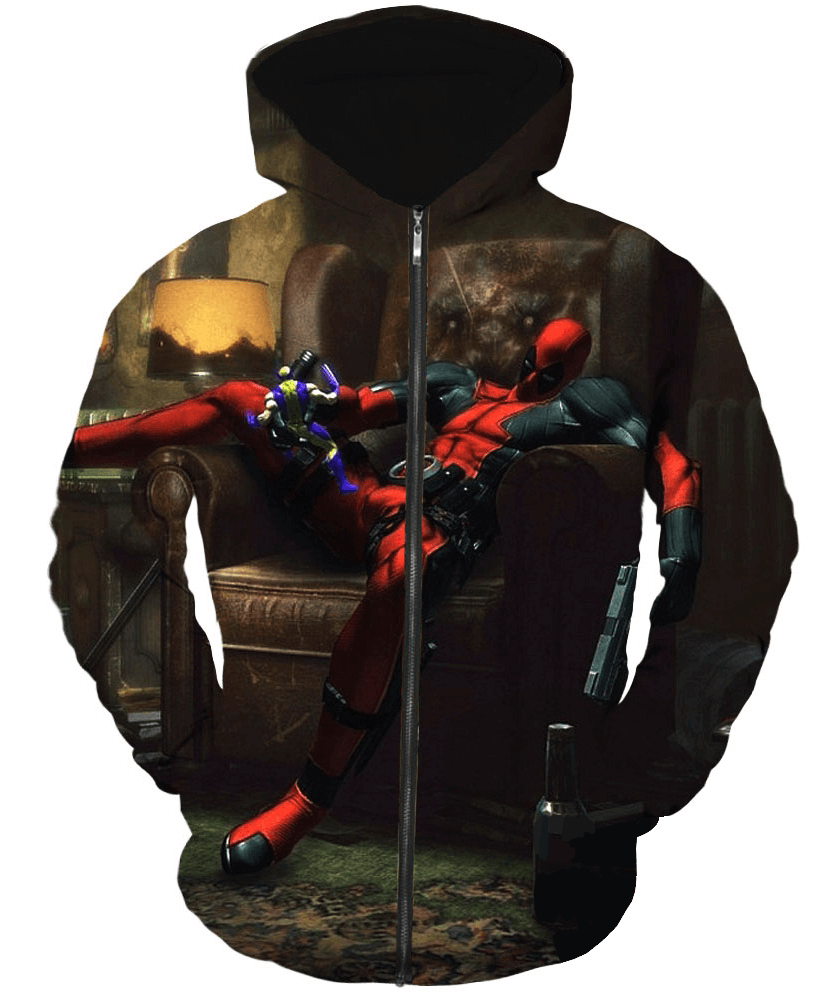 Deadpool Hoodies - Action Figure Lover Deadpool Zip Up Hoodie