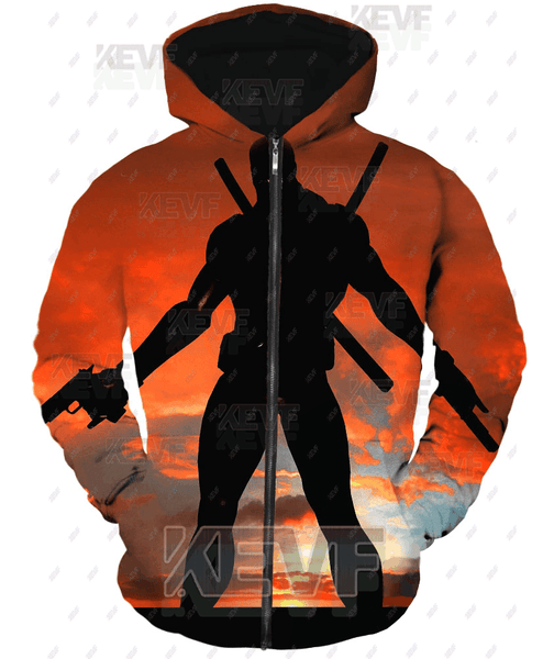 Deadpool Hoodies - Call For Action Marvels Deadpool Zip Up Hoodie