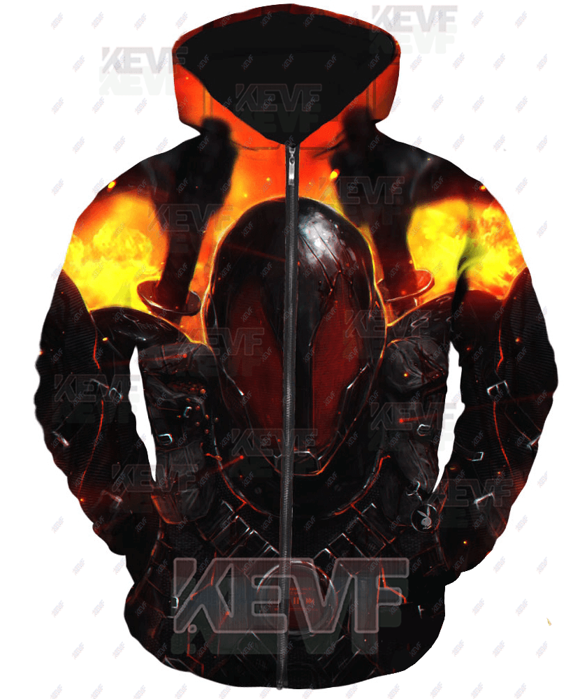 Deadpool Hoodies - Cosplay Armor Printed Hoodie Deadpool Zip Up Hoodie