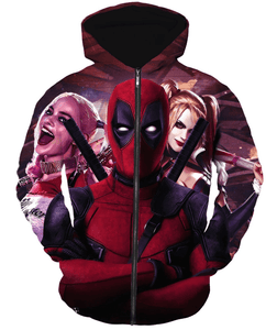 Deadpool Hoodies - Featuring Harlequin Deadpool Zip Up Hoodie