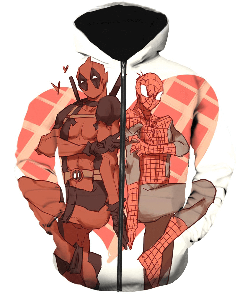 Deadpool Hoodies - Oves Spiderman Deadpool Zip Up Hoodie