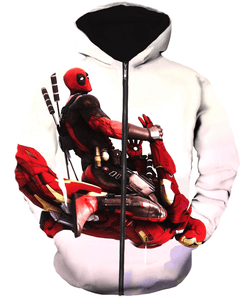 Deadpool Hoodies - Riding Iron Man Deadpool Zip Up Hoodie