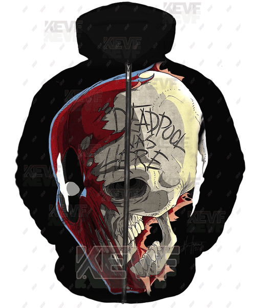 Deadpool Hoodies - Deadpool Was Here Zip Up Hoodie