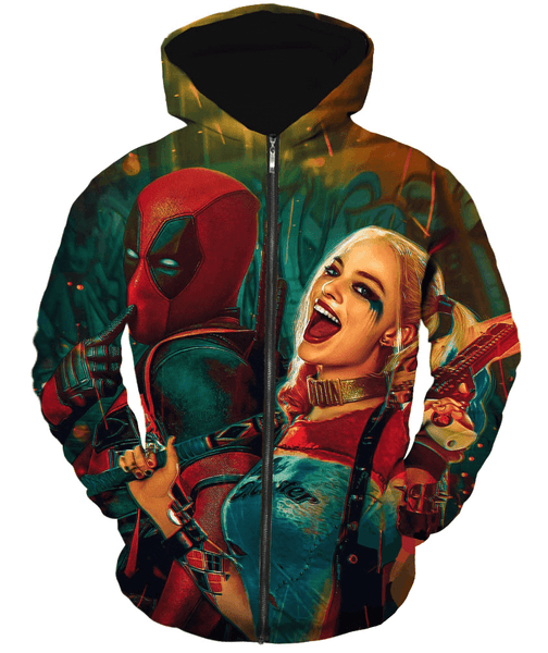 Deadpool Hoodies - X-Harlequin Cool Deadpool Zip Up Hoodie