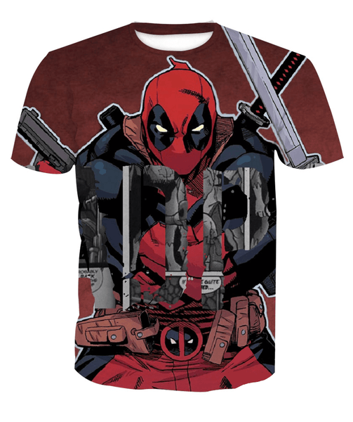 Deadpool Hoodies - Comic Book Rip Off Deadpool Zip Up Hoodie