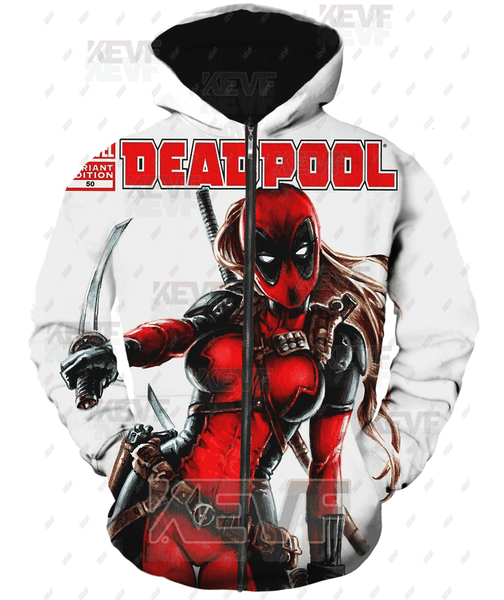 Deadpool Hoodies - Hot Hero Lady Deadpool Zip Up Hoodie
