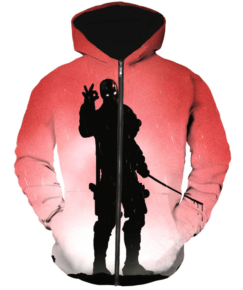 Deadpool Hoodies - Ultimate Fighting Mercenary Deadpool Zip Up Hoodie