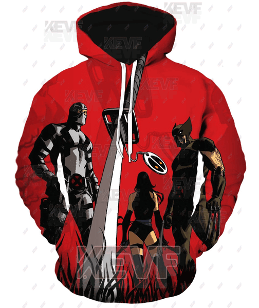 Deadpool Hoodies - X-Men Wolverine Deadpool Sword Deadpool Zip Up Hoodie