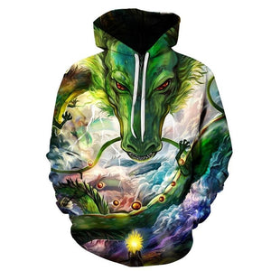 Dragon Ball Z Hoodies - Dragon Face Pull Over Hoodie - 3D Hoodies Clothing