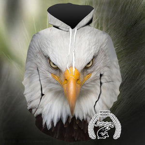 Animal Face Hoodies - Eagle Face Pull Over Hoodie - Animal Face Cloths