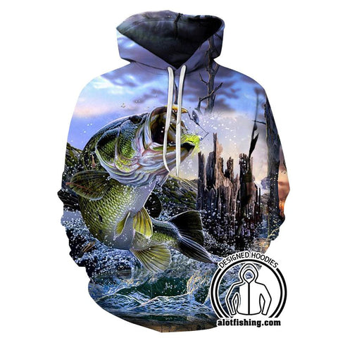 Fishing Hoodies - 3D Print Unisex Pull Over Hoodies - Bass