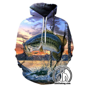Fishing Hoodies - 3D Print Unisex Pull Over Hoodies - Largemouth Bass