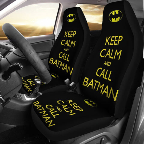 3D Car Seat Covers - All Over Print Universal Car Seat Covers Set of 2 - Keep Calm And Call Batman