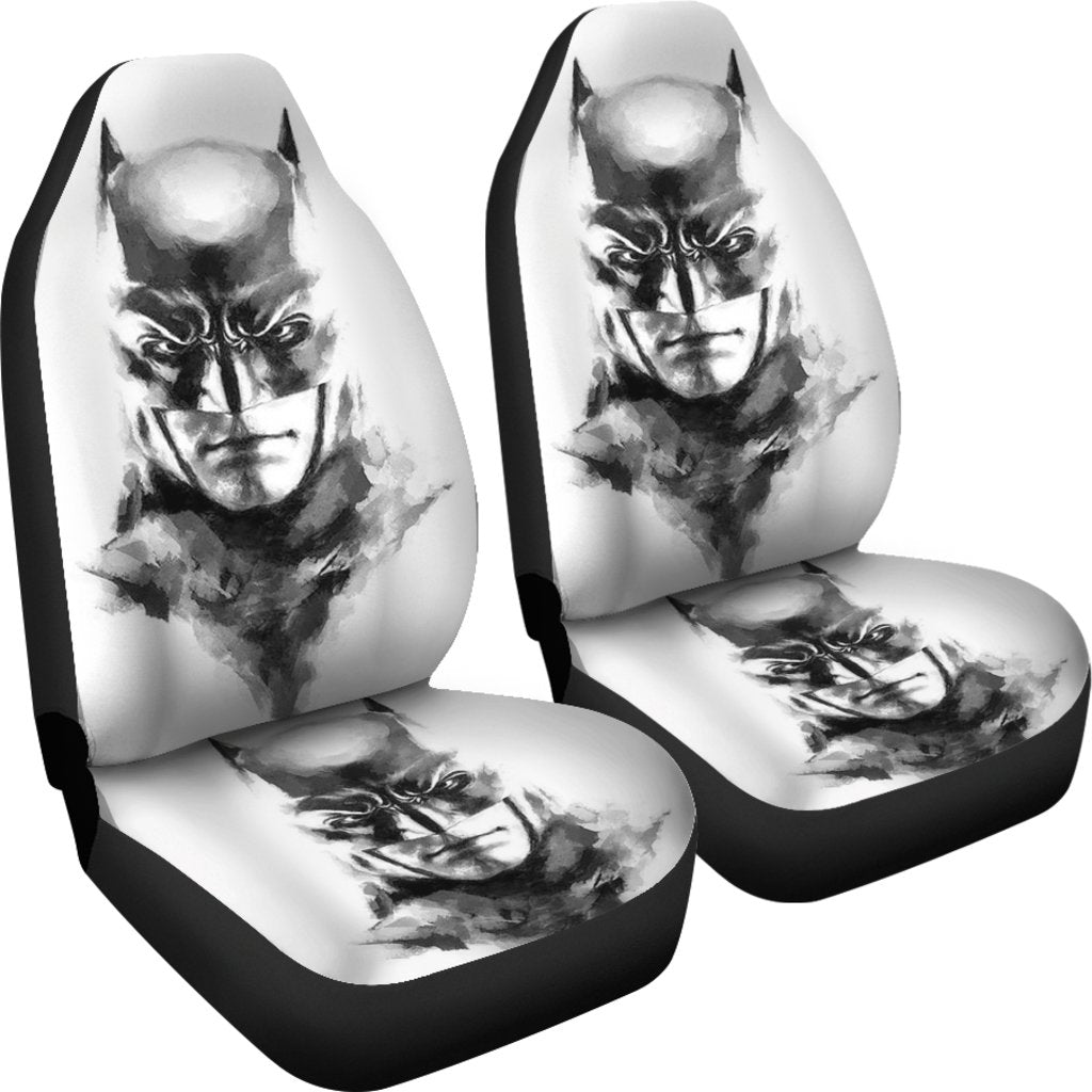 3D Car Seat Covers - All Over Print Universal Car Seat Covers Set of 2 - Batman Face