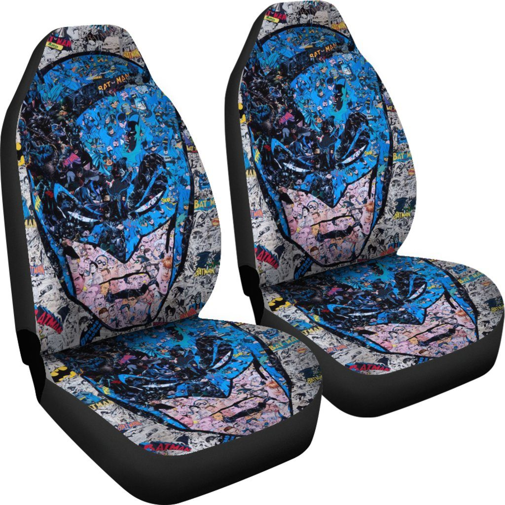 3D Car Seat Covers - All Over Print Universal Car Seat Covers Set of 2 - Batman Blue