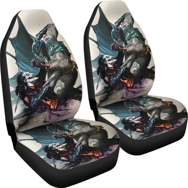 3D Car Seat Covers - All Over Print Universal Car Seat Covers Set of 2 - Batman Fighting