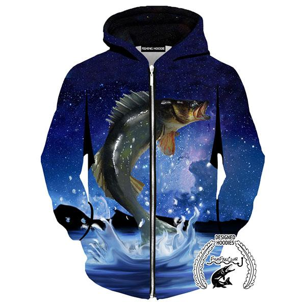 Fishing Hoodies - 3D Print Unisex Zip Up Hoodies - Walleye Galaxy