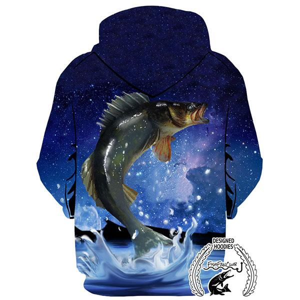 Fishing Hoodies - 3D Print Unisex Pull Over Hoodies - Walleye Galaxy