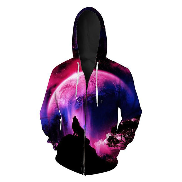 Animal Hoodies - 3D Unisex Pull Over Hoodies - Colorful Howling Wolf