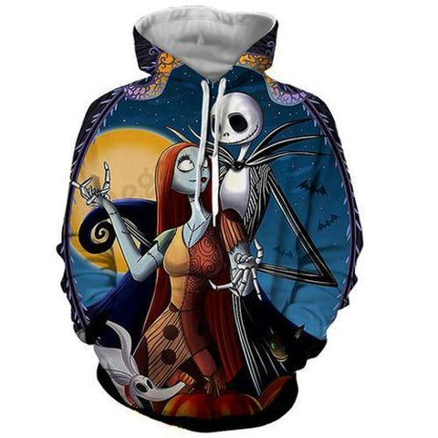 Jack Skellington Hoodies - Nightmare Before Christmas Jack&Sally's Dance Pull Over Hoodie - Jack Skellington Cloths