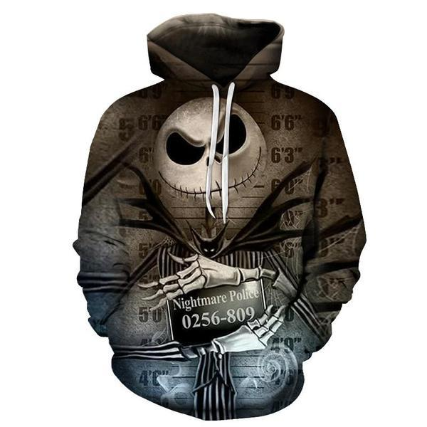 Jack Skellington Hoodies - Nightmare Before Christmas Police Pull Over Hoodie - Jack Skellington Cloths