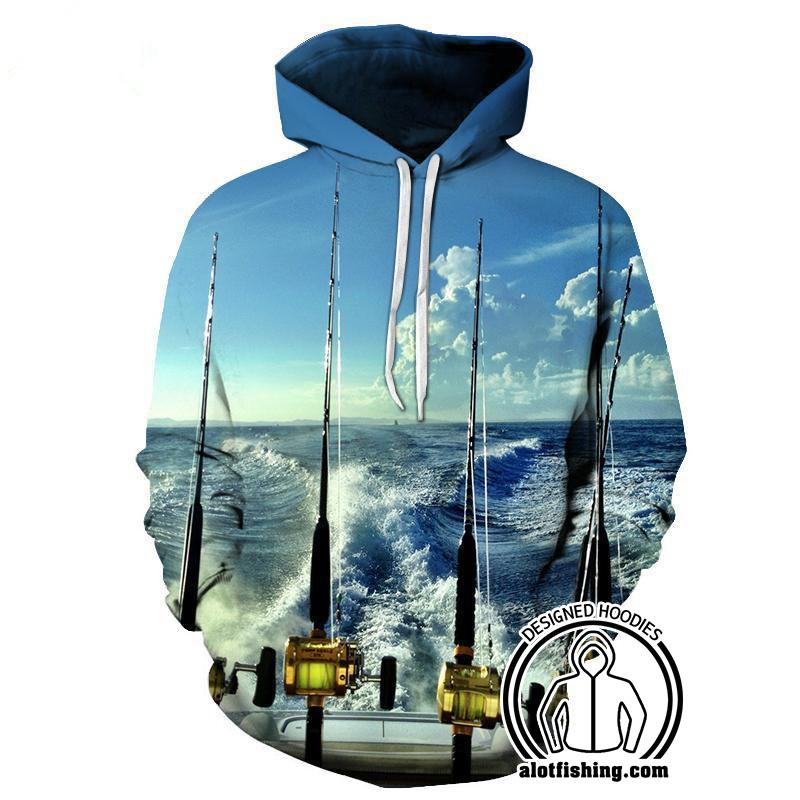 Fishing Hoodies - 3D Print Unisex Pull Over Hoodies - Deep Sea Fishing B