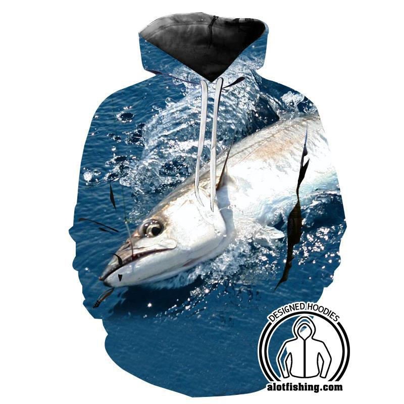 Fishing Hoodies - 3D Print Unisex Pull Over Hoodies - Giant Kingfish