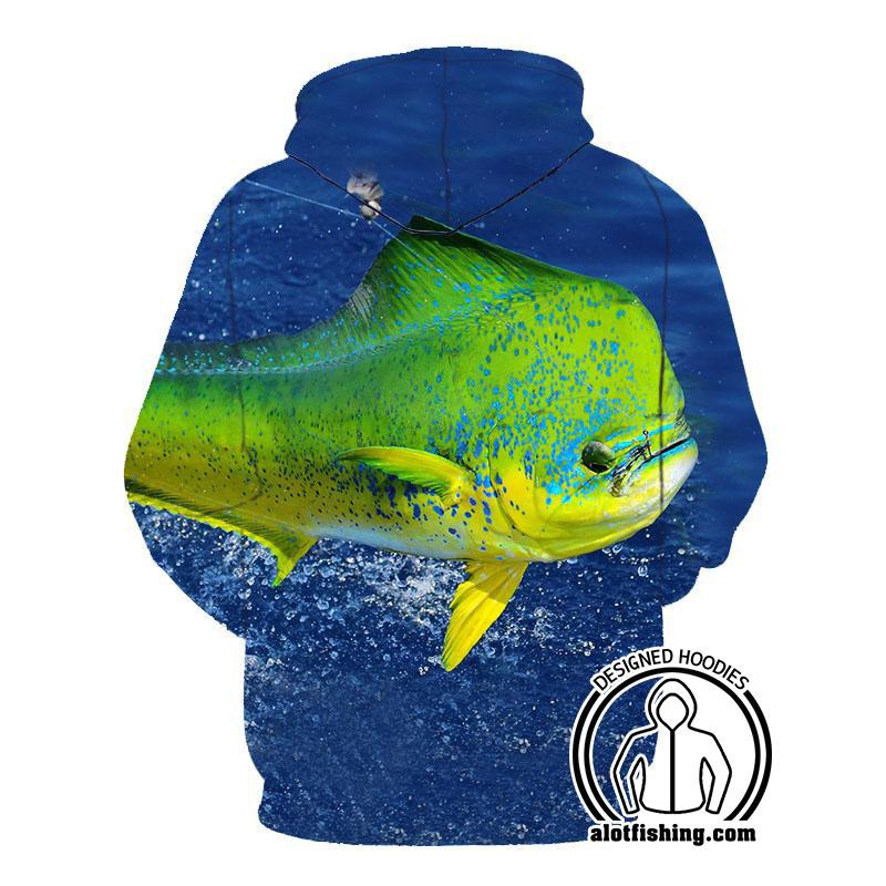 Fishing Hoodies - 3D Print Unisex Zip Up Hoodies - Mahi Mahi