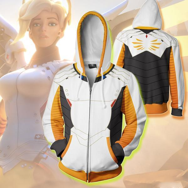 Overwatch Hoodies - Mercy Overwatch Zip Up Hoodie
