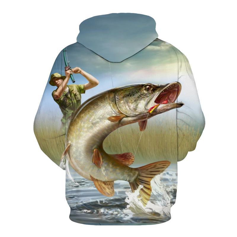 Fishing Hoodies - 3D Print Unisex Pull Over Hoodies - Muskies