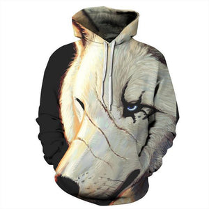 Animal Hoodies - 3D Unisex Pull Over Hoodie - One Eye Wolf