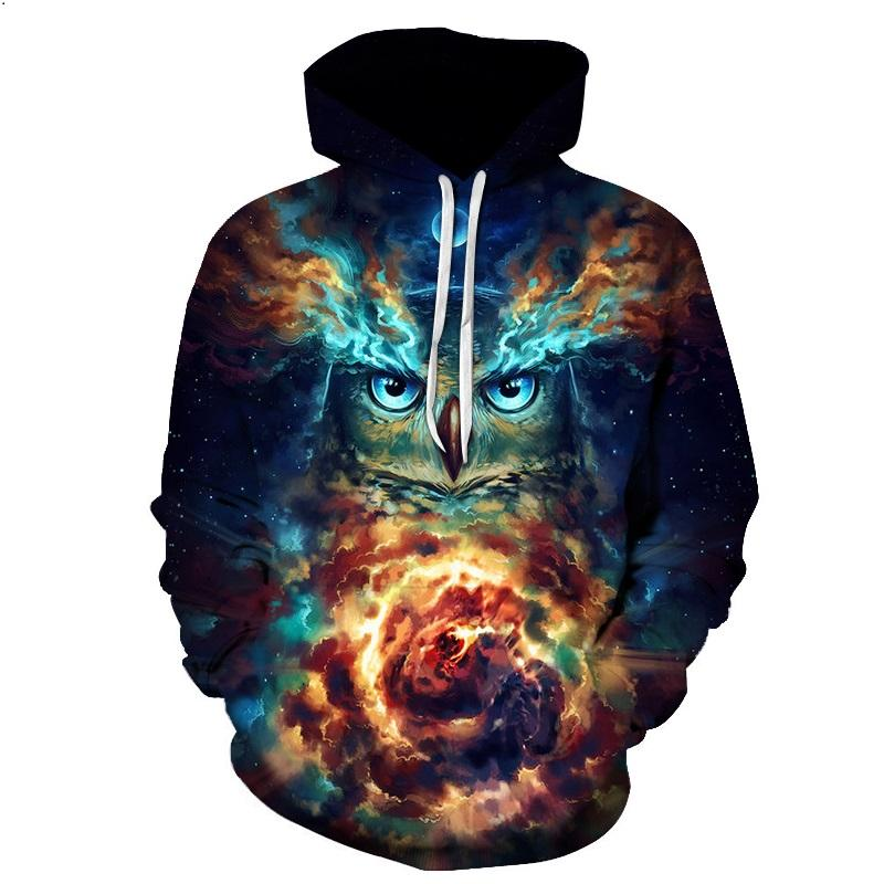 Animal Face Hoodies - Owl Face Galaxy Pull Over Hoodie - Animal Face Cloths
