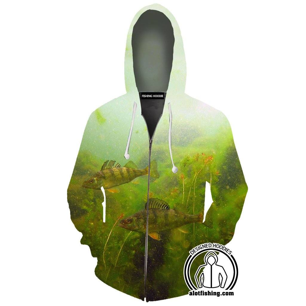 Fishing Hoodies - 3D Print Unisex Zip Up Hoodies - Perch