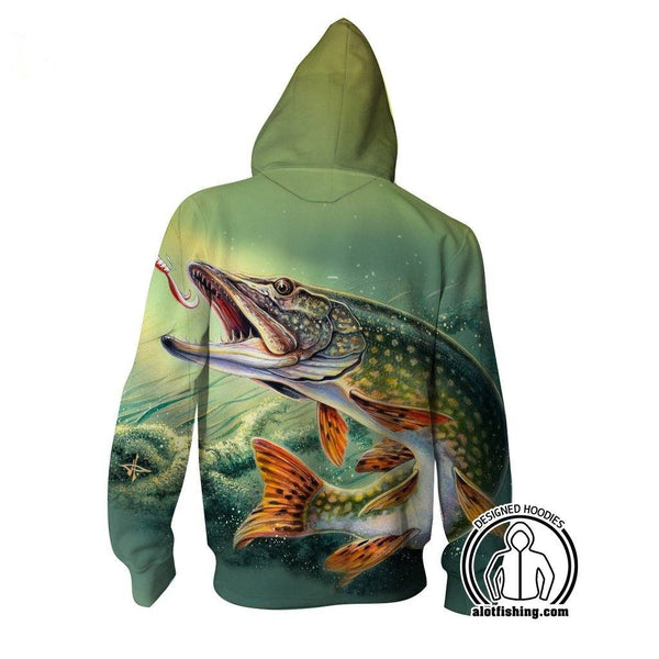 Fishing Hoodies - 3D Print Unisex Zip Up Hoodies - Pike