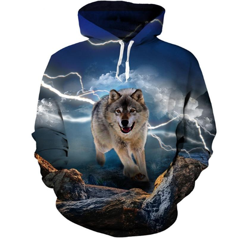 Animal Hoodies - 3D Unisex Pull Over Hoodie - Running Wolf