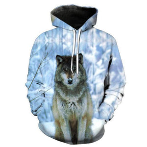 Animal Hoodies - 3D Unisex Pull Over Hoodie - Snow Wolf